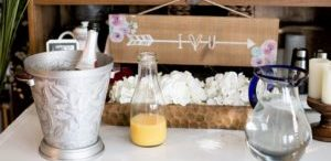 wedding decor and champagne and orange juice for mimosas
