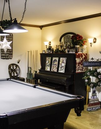 corner of pool table with piano