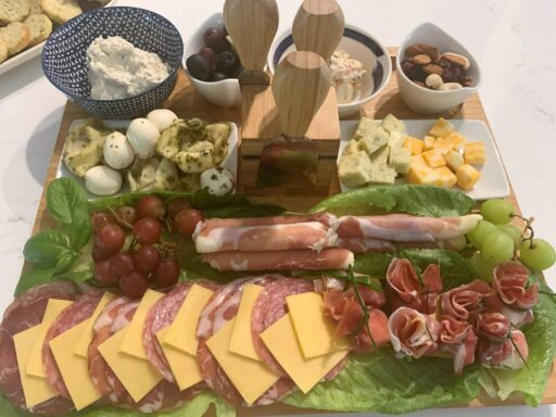 tray with meats and cheese