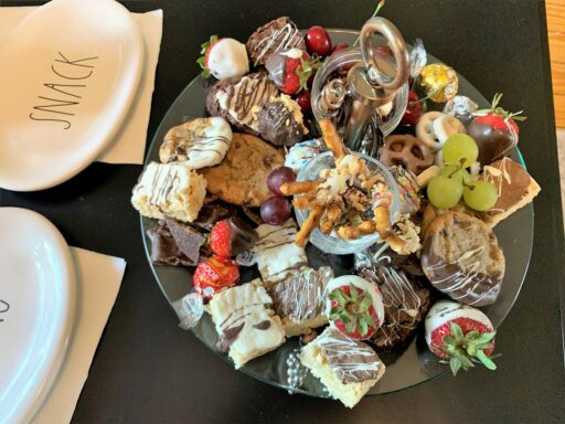 dessert tray with chocolates